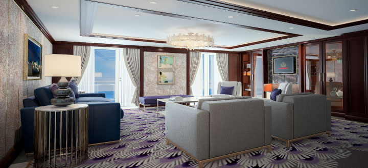 Queen Victoria refit with TVs that fold from ceiling.