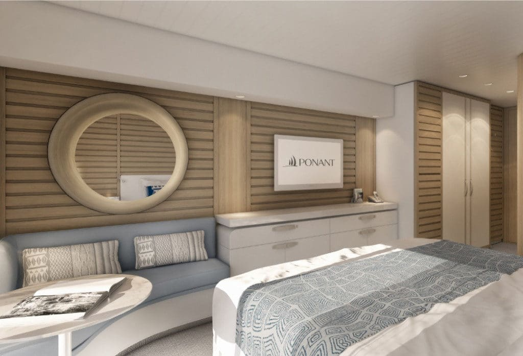 French, chic décor in the Explorer class cabins.