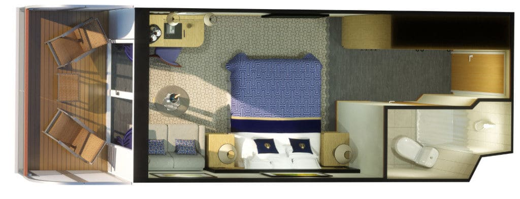 Layout of the new Britannia Club staterooms on Queen Victoria.