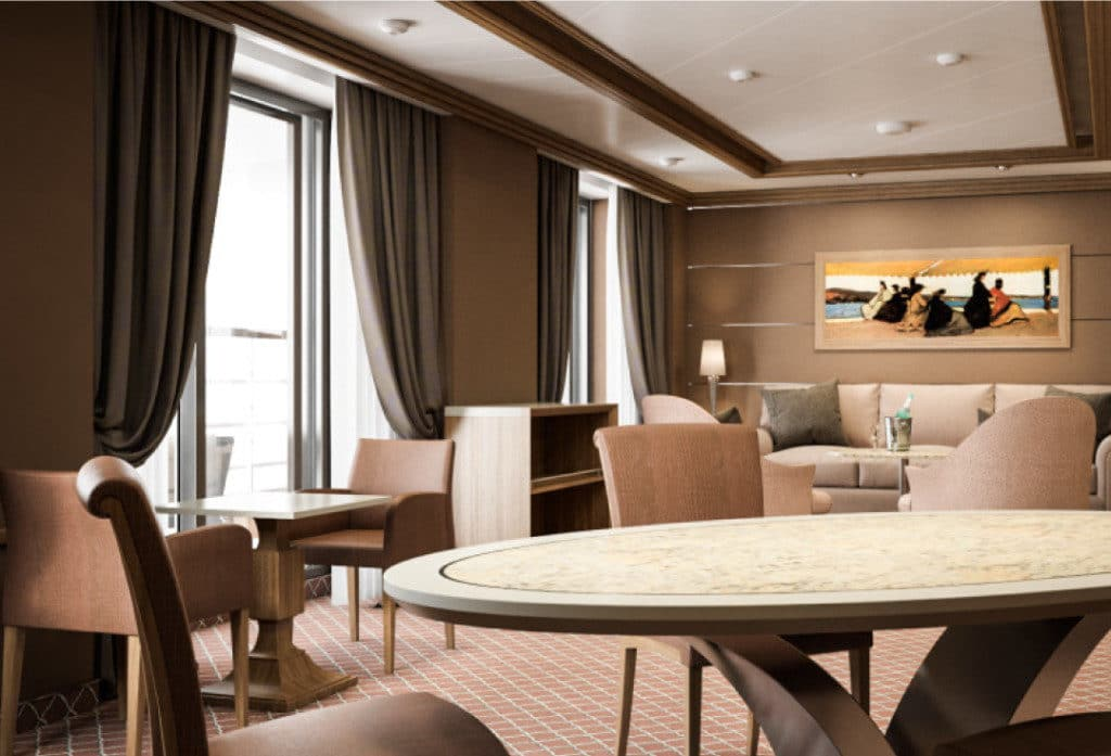 Rendering of the super-spacious Grand Suite on Silver Muse.