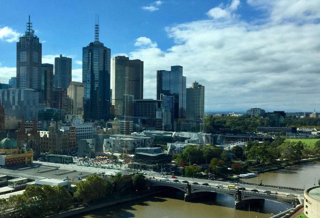 Melbourne is bisected by the Yarra River, with the central business district on the north side.