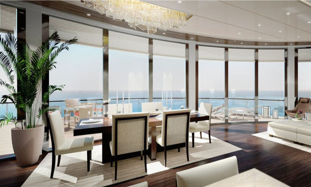 The opulent Owners Suite with sweeping ocean views.