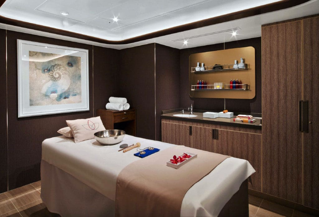 One of the luxurious treatment rooms in the Seabourn Encore spa.