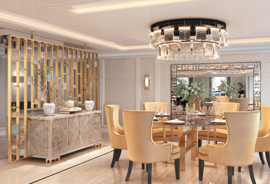 A rendering of the opulent dining area in the Regent Suite onboard Seven Seas Splendor.