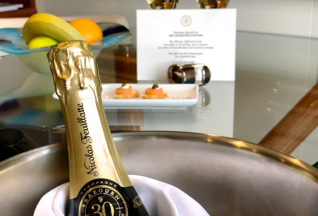 Welcome aboard! Nicolas Feuillatte champagne and canapés.