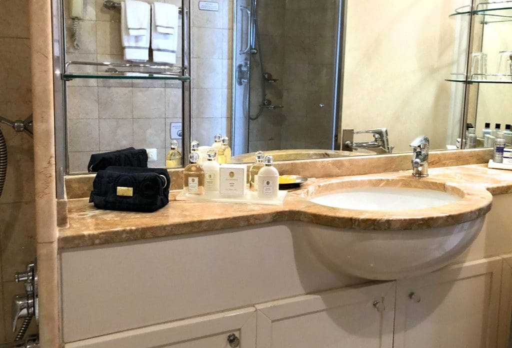 The marble bathroom in the Penthouse Suite is spacious.