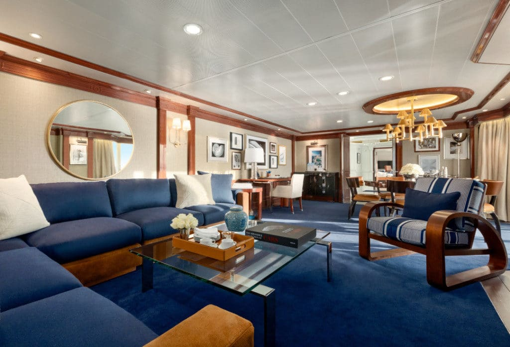 The remodelled Owner's Suite on Oceania Riviera.