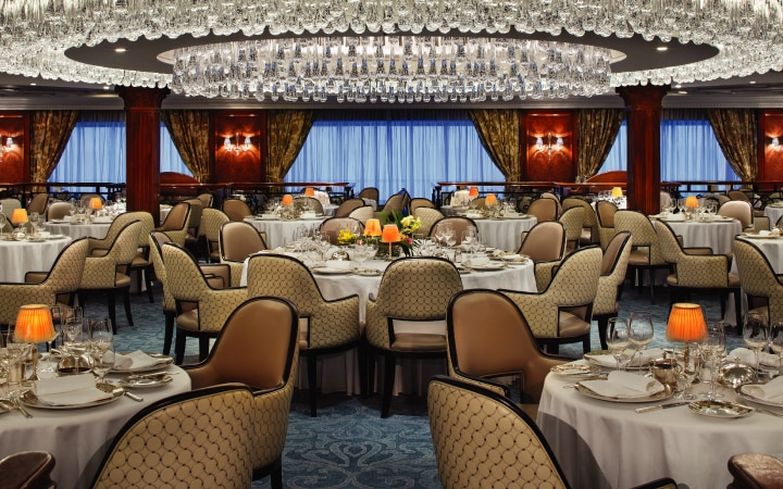 The Grand Dining Room was transformed during the Oceania Sirena refurbishment.