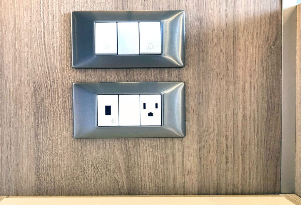 Handy bedside power and USB slots.