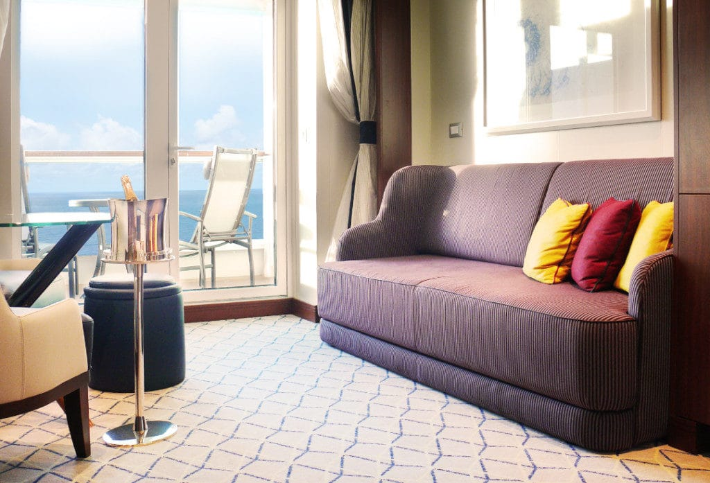 The Seabourn Ovation Veranda Suite is elegant and spacious.