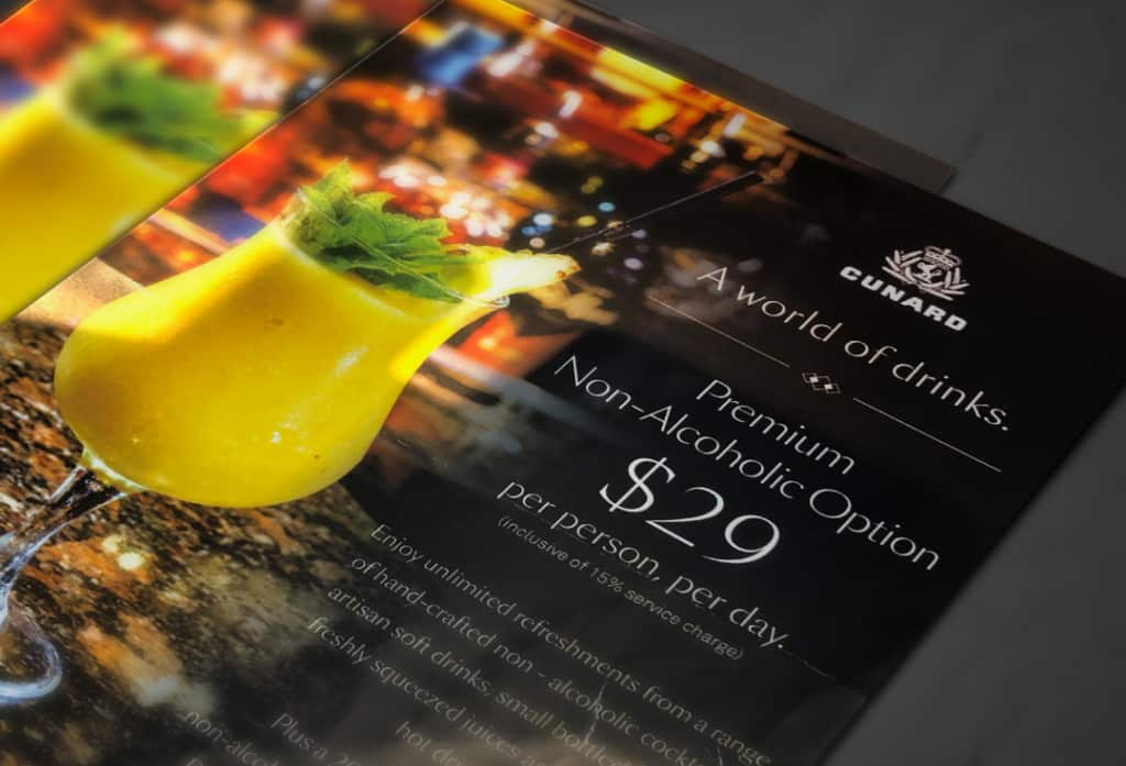 Brochure for the Premium Non-Alcoholic Option.