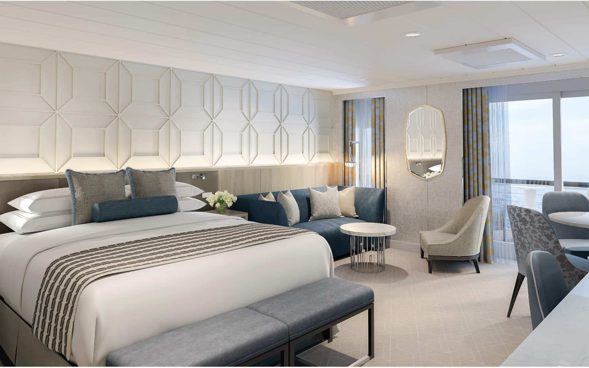 A Penthouse Suite is among the Oceania Vista Staterooms and Suites.